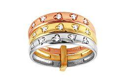 Zlatý trojfarebný prsteň so srdiečkami IZ9746