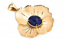 Zlatý zafírový prívesok kvet IZ5734YZ