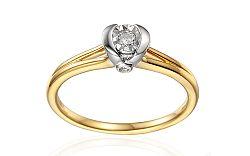 Zlatý zásnubný prsteň s diamantmi 0.120 ct Marely IZBR353