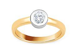 Zlatý zásnubný prsteň s diamantom Alma KU501