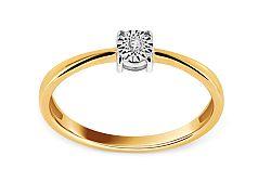 Zlatý zásnubný prsteň s diamantom Rafaela KU416