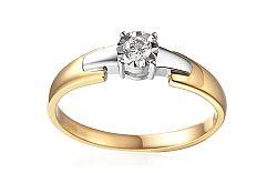 Zlatý zásnubný prsteň s diamantom Sabiya IZBR156