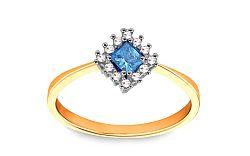 Zlatý zásnubný prsteň s modrým zirkónom CS9RI1915CT