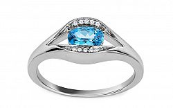 Zlatý zásnubný prsteň s topásom a diamantmi Eulalie CSBRI003A