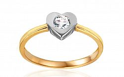 Zlatý zásnubný prsteň so srdcom Tierra IZ10618