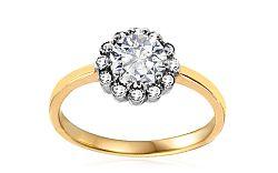 Zlatý zásnubný prsteň so zirkónmi Dulce IZ10634