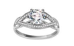 Zlatý zásnubný prsteň so zirkónmi Lexie white IZ11295A