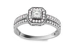 Zlatý zásnubný prsteň so zirkónmi Maribel white CSRI1410A