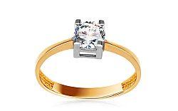 Zlatý zásnubný prsteň so zirkónom Kandi IZ10631
