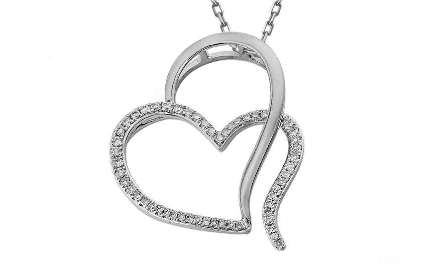 bdba41399 Diamantové dvojité srdiečko z bieleho zlata IZBR328A | ZlatáHorúčka.sk