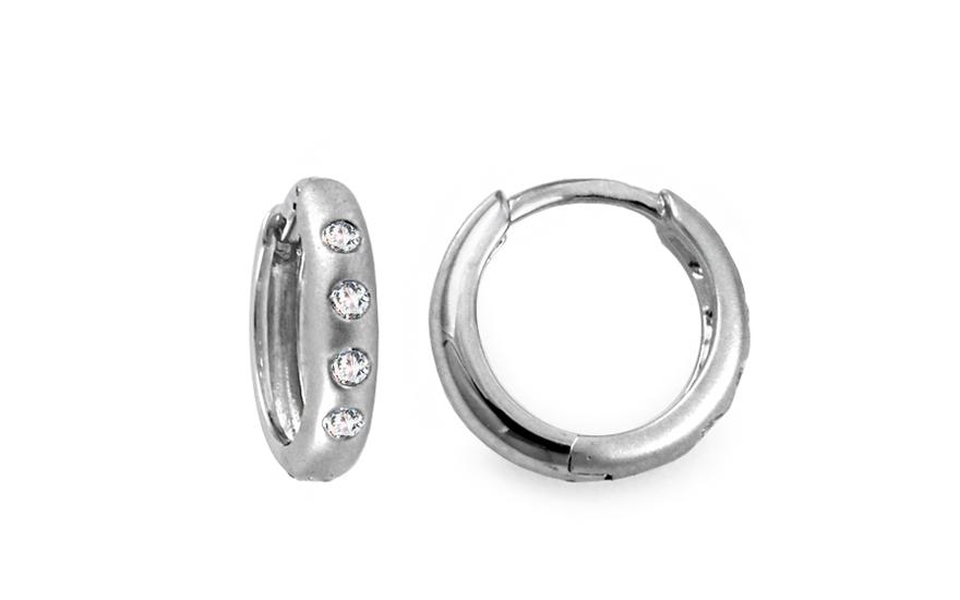 Diamantové náušnice krúžky z bieleho zlata KU428  2a6143bf827