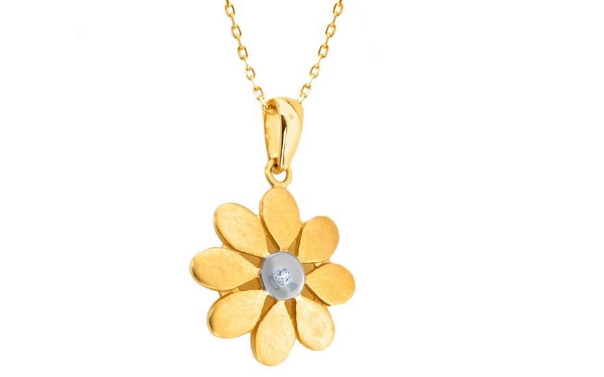 0ce7b3c06 Diamantový náhrdelník 0,010 ct slnečnica IZ3600 | ZlatáHorúčka.sk