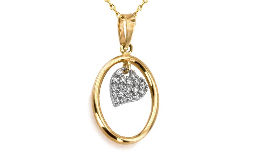 Prívesok dámsky srdce zo Swarovski krištáľmi z viacfarebného zlata IZ3437 38c763d5a75