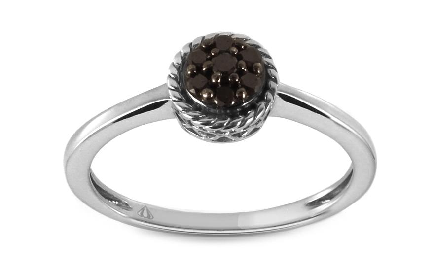 a6718279a Zásnubný prsteň 0,120 ct s čiernymi diamantmi Mileres KU296 ...