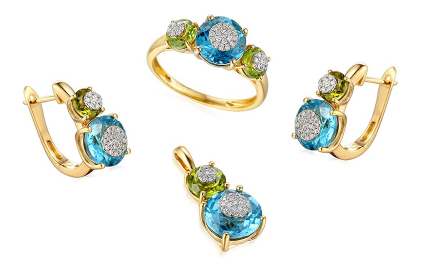 51f671451 Zlatá súprava s diamantmi a drahými kameňmi IZBR199S | ZlatáHorúčka.sk