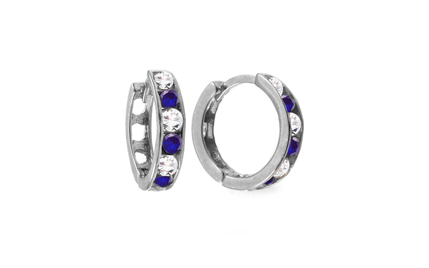 70a7b36cc Zlaté dievčenské náušnice krúžky s modrými kamienkami 1,2 cm IZ10368AZ
