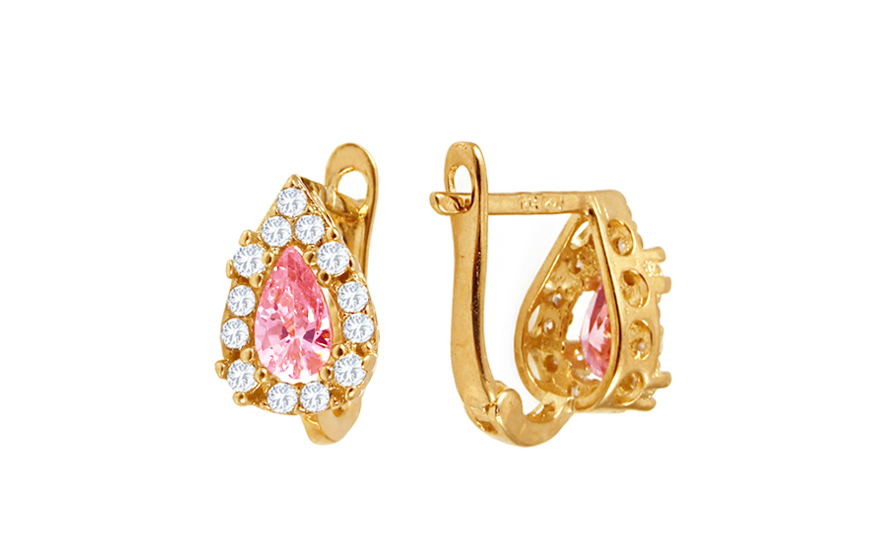 cc7602685 Zlaté dievčenské náušnice kvapky s ružovými kamienkami IZ10370R ...
