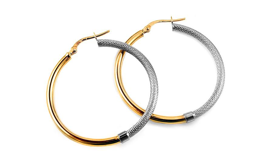 9f6202ad8 Zlaté kombinované náušnice kruhy 3,5 cm IZ10208 | ZlatáHorúčka.sk