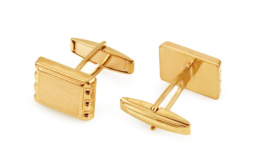f8eceb76772c Zlaté manžetové gombíky obdĺžnikové s matovaním IZ11499 ...