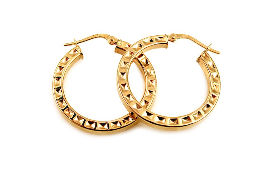 Zlaté náušnice kruhy s vybíjaným vzorom 2 84270c65b0a
