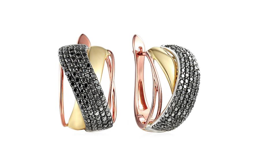 3060b7d6d Zlaté náušnice s čiernymi diamantmi 1,340 ct IZBR123NC   ZlatáHorúčka.sk