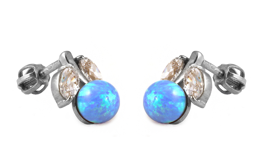 Zlaté náušnice s modrým opálom a zirkónmi IZ9108N  5d65612929e