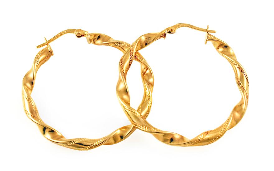 Zlaté náušnice točené kruhy IZ9318  82e596c3391