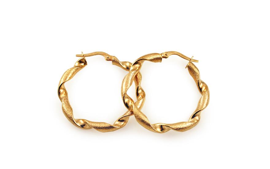 Zlaté náušnice točené kruhy s pieskovaním 3 cm IZ10215M ... 0d2751f9651
