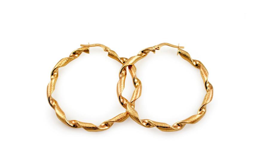 Zlaté náušnice točené kruhy s pieskovaním 4 cm IZ10215  7744c10c8bd