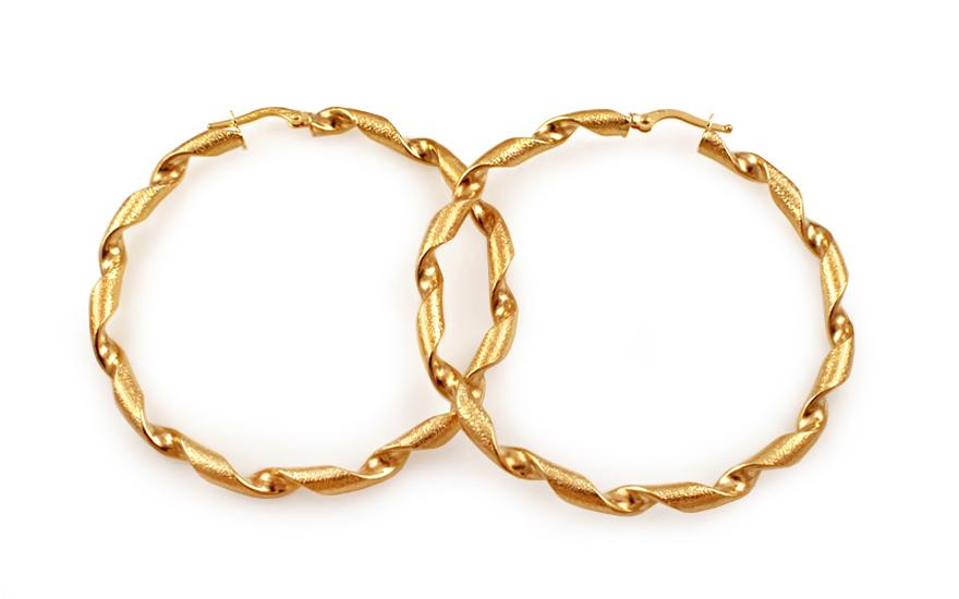 fd933f449 Zlaté náušnice točené kruhy s pieskovaním 5,2 cm IZ10216 ...