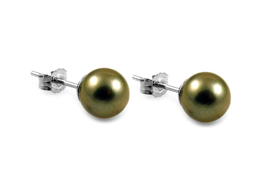 Zlaté perlové náušnice Akoya tmavé PE172AT  5b7c4cc9405