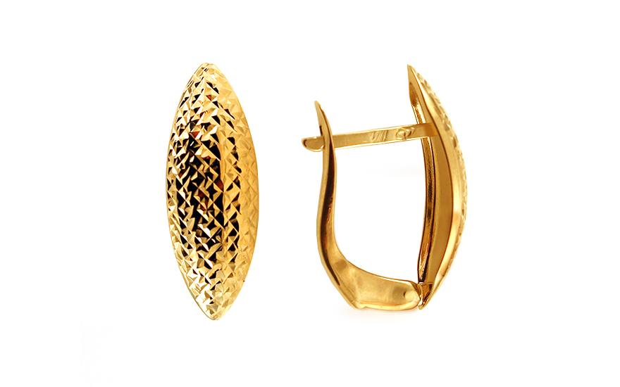743509e26 Zlaté trblietavé náušnice k uchu s gravírom IZ10681 | ZlatáHorúčka.sk