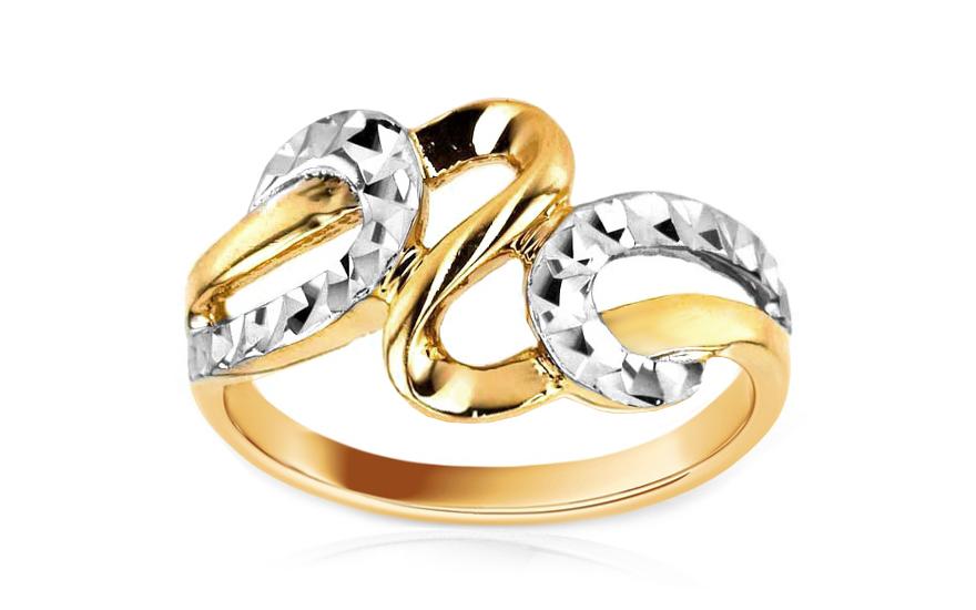 d7f3de2b8 Zlatý dámsky prsteň kombinovaný IZ5996   ZlatáHorúčka.sk