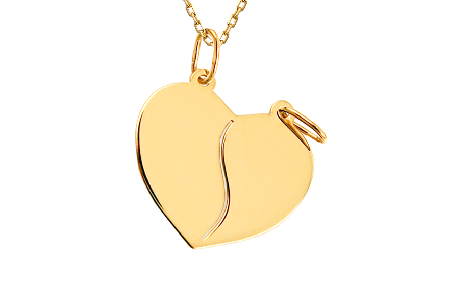 44fc9c6c9 Zlatý medailón na gravírovanie Srdce pre dvoch IZ8153 | ZlatáHorúčka.sk