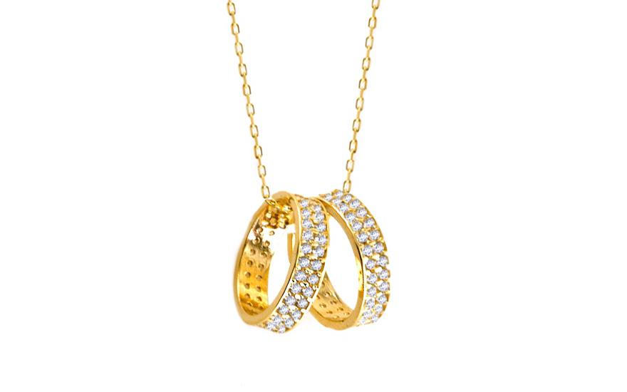 Zlatý náhrdelník s obrúčkami IZ6473  7d77503ca74