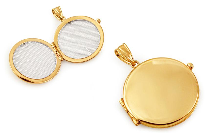 Zlatý otvárací medailón na fotku okrúhly IZ10483  abd119e0e43