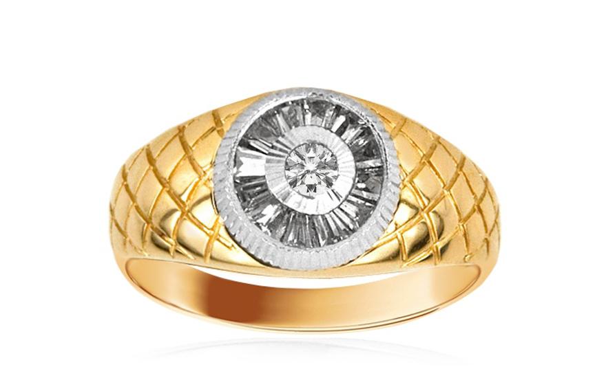 20a1fb40b Zlatý pánsky prsteň gravírovaný so zirkónmi IZ2971 | ZlatáHorúčka.sk