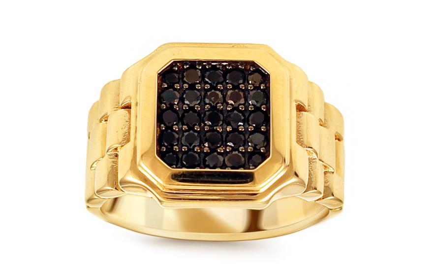 Zlatý pánsky prsteň s čiernymi zirkónmi Watch IZ10669  b8378bede47