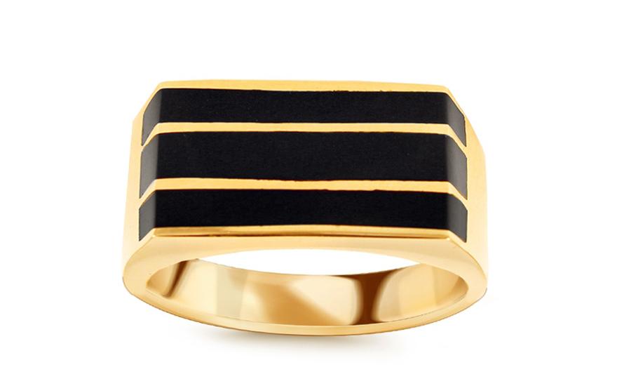 815800b6eb3 Zlatý pánsky prsteň s ónyxom IZ10693   ZlatáHorúčka.sk