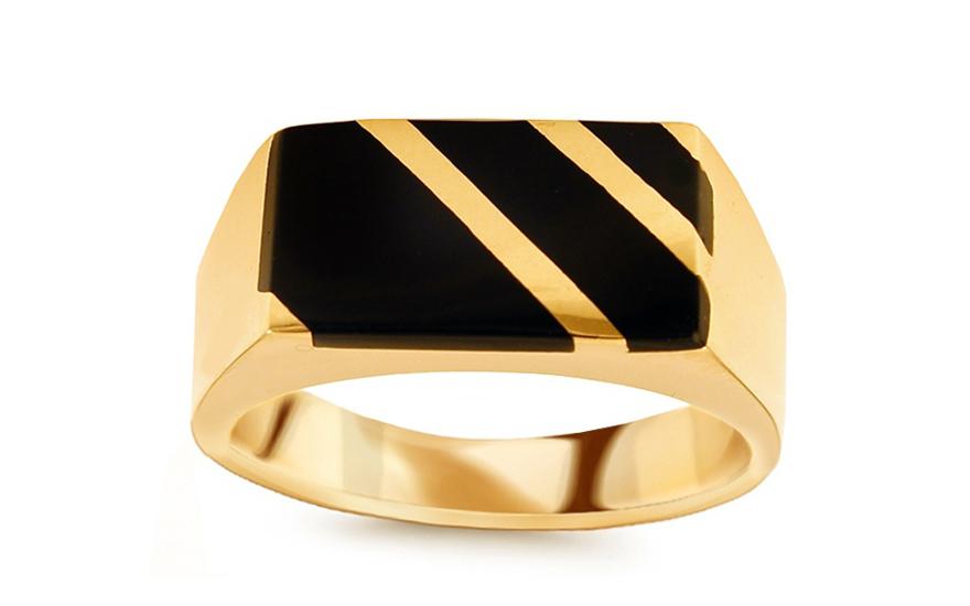 8a8d9217f Zlatý pánsky prsteň s ónyxom IZ10694 | ZlatáHorúčka.sk