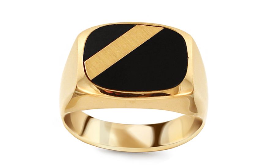 044284ad3 Zlatý pánsky prsteň s ónyxom IZ11504 | ZlatáHorúčka.sk