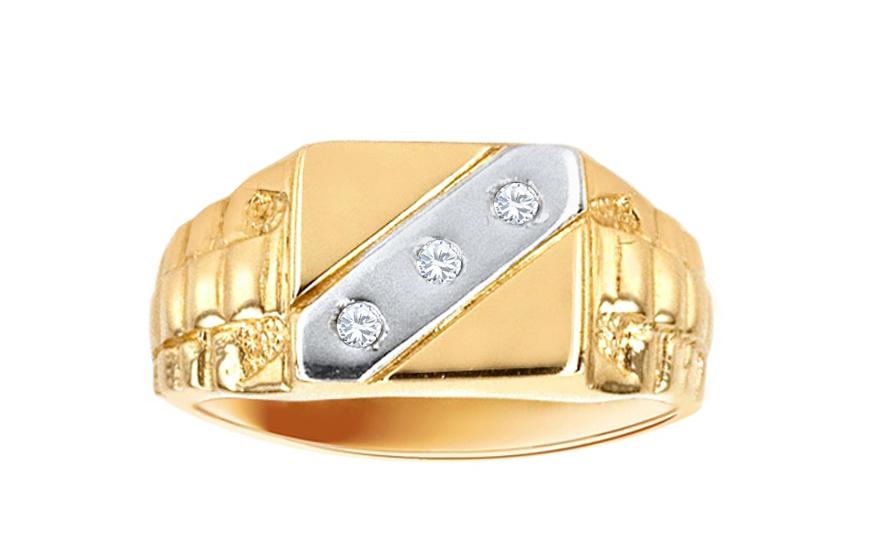 09bebeaf8 Zlatý pánsky prsteň s tromi zirkónmi IZ584 | ZlatáHorúčka.sk