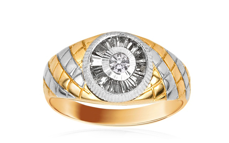 Zlatý pánsky prsteň so zirkónmi IZ1581  db8e7224661