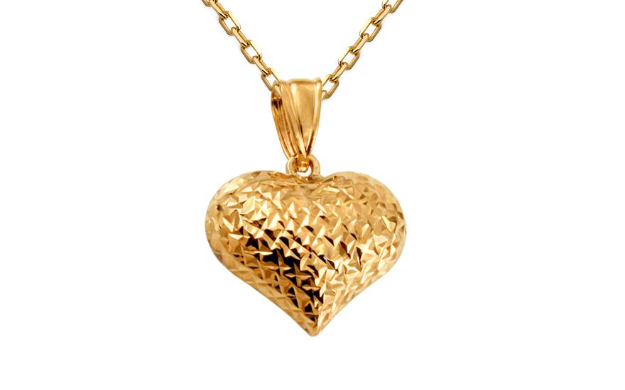 Zlatý prívesok dvojfarebné gravírované srdce IZ10638  5edc4d32108