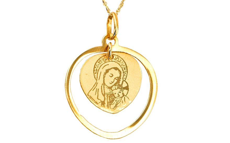 Zlatý prívesok Panna Mária s Ježiškom v srdci IZ4794  a396859d5a8