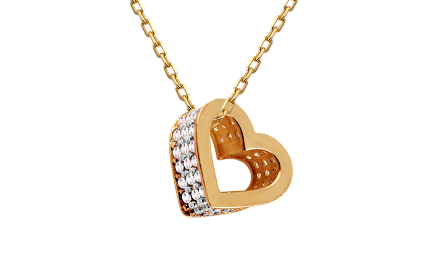 Zlatý prívesok Srdiečko so zirkónmi IZ10798  2debd5170e7