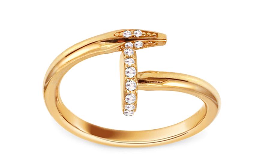 fbe733768 Zlatý prsteň Nail so zirkónmi IZ11457   ZlatáHorúčka.sk