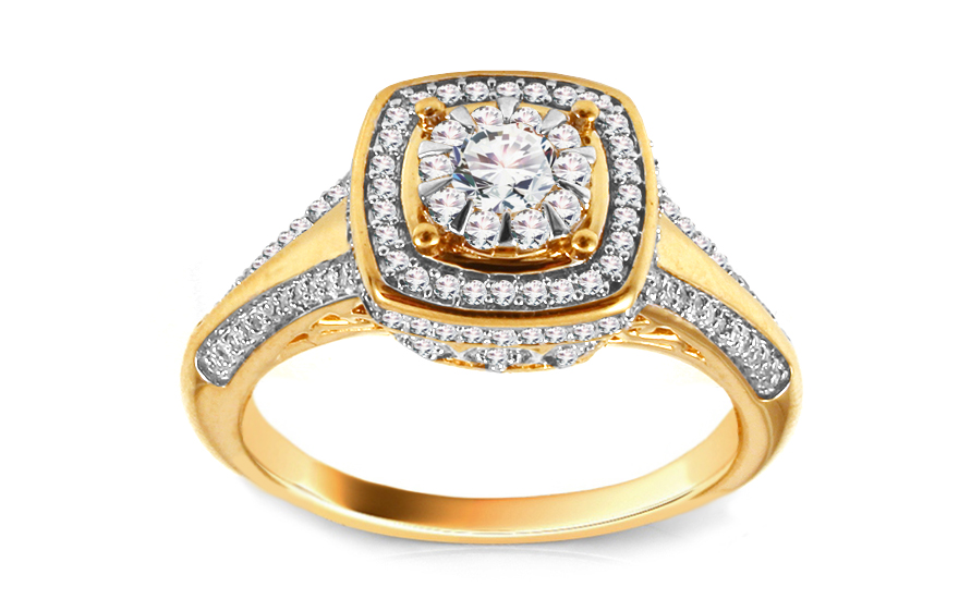 5f2e565b0 Zlatý prsteň s briliantmi KU439   ZlatáHorúčka.sk