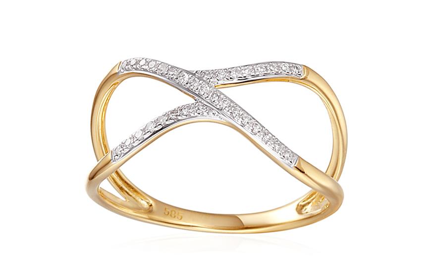 Zlatý prsteň s diamantmi Abiah IZBR316  1804dd9a189