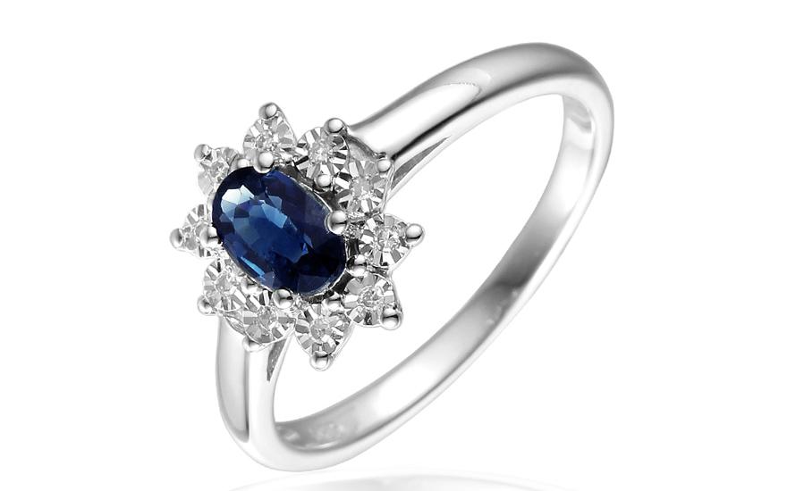 Zlatý prsteň so zafírom a diamantmi Palesa IZBR181A  cf0453a1487